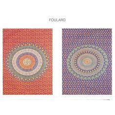 Foulard Mandela. Foulard Mandela de Brisa&Home. Composición: 100% algodón. Diseño ornamentación floral y mandala. Medidas: 230 x 250 cm. Dos colores Azul y naranja.