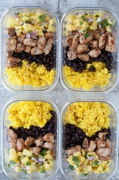 Jerk Chicken Meal Prep Bowls are colorful flavorful and great for meal prep or an easy dinner. Jerk chicken pineapple salsa rice and beans. Best Meal Prep, Lunch Meal Prep, Meal Prep Bowls, Healthy Meal Prep, Healthy Drinks, Healthy Snacks, Healthy Recipes, Keto Recipes, Healthy Eating