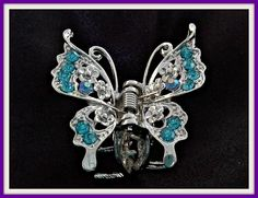 Classic Silver Butterfly Hair Claw with Blue Crystals. - Crystal Dreams