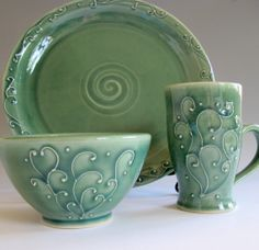Porcelain Dinnerware Set by PotterybyLisa on Etsy, $75.00 Love this with a huge thumbs up!