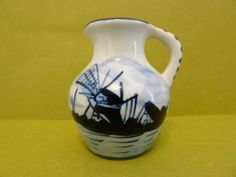 Handpainted Deflt's Blauw, #414, Handpainted Miniature Pitcher, Windmill Scene by BjsDoDads on Etsy