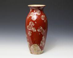 Crystalline Champagne Gold on Red Vase #6825 Ceramics Pottery by Moonlit Method Greg and Pamela Beckman
