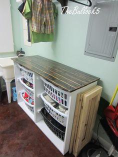 laundry dresser  folding table all in one | Laundry dresser  folding area