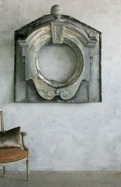 Antique 19th Century French Architectural Zinc Window Frame
