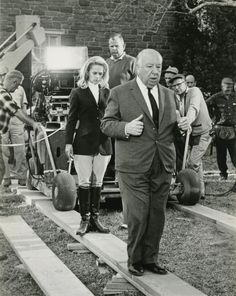 "Tippi Hedren & Alfred Hitchcock on the set of ""Marnie"""