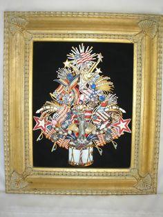 Vintage Jewelry Ooak Patriotic Framed Christmas Tree July 4th Pins Americana | eBay
