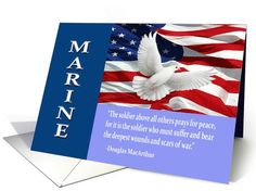Military Marine Thank You Card by Dog Tags and Combat Boots. Includes a quote by Gen. Douglas MacArthur. Cards with this same design for all branches of the military. Military cards for all occasions.