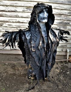 The Vulture by SceneSick Horror Costume Scarecrow Halloween Custom Made Hood Raven Angel Demon Sculpted Metal Robe Cape Post Apocalyptic Costume, Post Apocalyptic Fashion, Post Apocalyptic Clothing, Diy Halloween Decorations, Halloween Themes, Larp, Halloween Cosplay, Halloween Costumes, Halloween Coffin