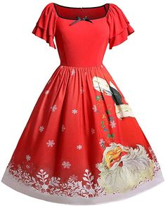 Shop a great selection of ROSE GAL Women's Plus Size Christmas Short Sleeve Square Collar Santa Claus Dress. Find new offer and Similar products for ROSE GAL Women's Plus Size Christmas Short Sleeve Square Collar Santa Claus Dress. Vintage Christmas Dress, Christmas Dress Women, Vintage Red Dress, Robes Vintage, Vintage Party Dresses, Christmas Fashion, Christmas Clothing, Christmas Gifts, Christmas Outfits