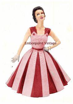 Más el tamaño (o cualquier tamaño) patrón de costura de vestido Vintage 1949 - PDF - no patrón Nora 3