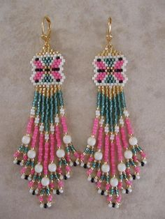 Free Native American Beadwork Designs | Seed Bead Beadwoven Earrings Free Shipping by pattimacs on Etsy