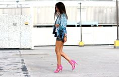 printed jacket, mixing prints, printed blazer, polka dot top, striped shorts, pink heels, just fab heels, bright, pop of color, h&m