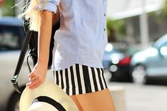 Sirma Markova: Casual Blue/ Choies shorts http://www.choies.com/product/shorts-in-black-and-white-stripe-print?cid=370bella, casual blue shirt, panama hat