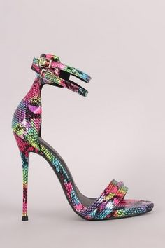 a557bf75125 Colorful Python Double Ankle Strap Stiletto Dress Heel  snakeskin High Shoes