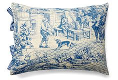"""Toile 12x16 Cotton Pillow, Blue on OKL ($59 v. $100 retail; sold out)  Made of: cover, cotton; insert, feather/down Size: 12"""" x 16"""" Color: blue  Care: Machine-wash; tumble-dry on delicate cycle.   """"Complementing gingham side ties add a charming touch to this impeccably rendered toile de Jouy-inspired pillow....From elegant toiles to Jouy to exuberant florals and stripes, Maison du Linge linens will add an infectious joie de vivre to your home."""""""