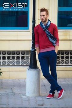 Spring 2017 Color Combinations that WOW for men, blue + red, red sweater, blue pants, red sneakers, blue print scarf | Divine Style