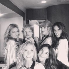 Pin for Later: We Can Only Imagine How Taylor Swift and Her Fashion Squad Will Celebrate Friendship Day Martha Hunt Backstage during the Victoria's Secret show, Taylor posed with buddy Ed Sheeran and her Angel friends.