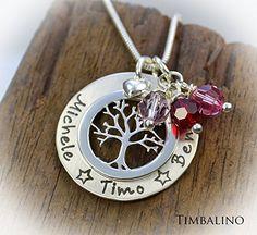 Kette Lebensbaum, Monatssteinkette, Geburtsstein, mit Gravur, Lifetree, mit Name: