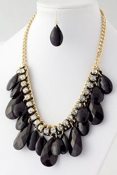 Eva Teardrop Dangle Black Jewel Fashion Jewelry Necklace & Earrings Set