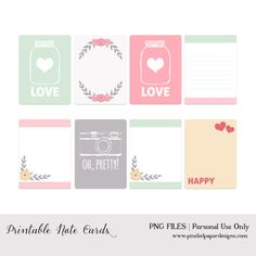 Free Printable Note Cards // Project Life // Valentine's Day