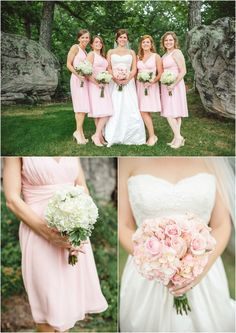 Pink bridesmaids dresses and wedding bouquets. Fairyland Club Wedding at Lookout Mountain, GA. Click to view more from this wedding!