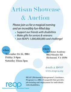 Poster for the Artisan Showcase & Auction. Click to check out up-to-date information about the event and to RSVP
