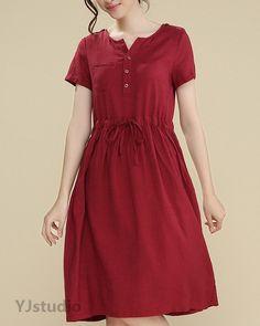 Cotton dress, Tunic, Blue dress, Green Dress, Red dress, Khaki Dress, V neck dress, Short Sleeve, summer dress, loose fitting dress