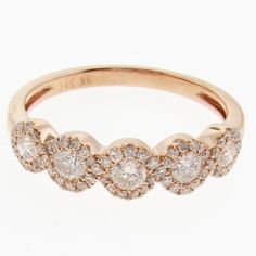 525401a185a Five Halo Swirl Diamond Band - Fourteen karat rose gold