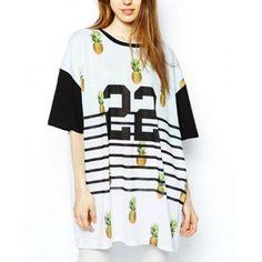 Elegant number Pinapple print T shirt O neck short sleeve