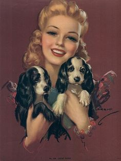 Cocker Spaniel vintage 40's Art beautiful faces....puppies/girl