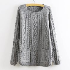 Retro Style Solid Color Pullover Cable Knit Sweater For Women (GRAY,ONE SIZE) | Sammydress.com