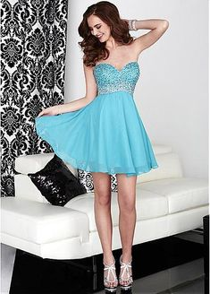 1633ce509c44c Chic Chiffon Sweetheart Neckline Short A-line Homecoming Dresses with  Beadings & Rhinestones Fabric: