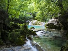 Urederra River, in the Urbasa y Andía Natural Park, in the North of the Navarre region. Places In Europe, Best Places To Travel, Places To Go, Beautiful Places In Spain, Natural Park, Basque Country, World View, Spain And Portugal, Canary Islands
