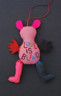 "Ulla Anobile: LOVE IS BLIND, backside (2014) hand stitched felt, embroidery floss, polyfill, 5"" tall  ©Ulla Anobile"
