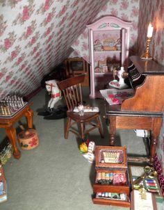 Dollhouse Miniature Attic Sewing Room by Sheila A. Nielson
