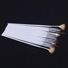 15pcs/set Professional Nail Art Brushes White Decorations Gel Painting Drawing polish Pen Nail Brush Nail Equipment Drawing Tool