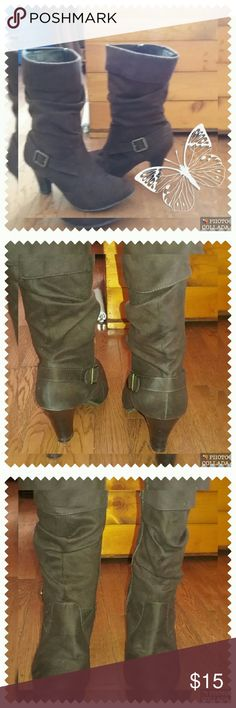 Ladies sued ish Brown boot Brown like suede zip on inside decorative buckle on out Shoes Heeled Boots