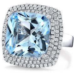 NK16716BT-W 14k White gold blue topaz and diamond cocktail ring