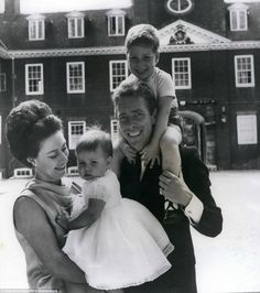 Together as a family: Princess Margaret and Lord Snowdon with their two children at Kensington Palace in London in 1964