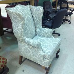 Last month I did something scary: I decided I was going to learn how to reupholster a thrift store wingback chair. I had found this vintage wingback chair Wingback Chairs For Sale, Old Chairs, Vintage Chairs, Upholstered Chairs, Pink Chairs, White Chairs, Chair Upholstery, Dining Chairs, Ikea Chairs