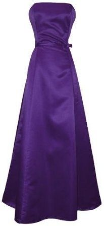 50's Strapless Satin Long Gown Bridesmaid Prom Dress Holiday Formal Junior Plus Size,