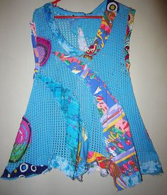 Blue Crochet Vest upcycled recycled fits L XL by monapaints, $149.00