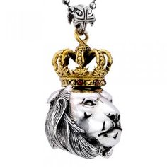 a95f3f75e7b Gothic Antiqued Gold Crowned Lion Head 925 Sterling Silver Pendant Necklace  For Men. Bijoux HommeCollier ...