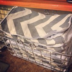 No more paper towels...one basket for clean, one for dirty.  Good idea and money saver.