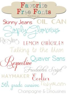"TidyMom Favorite Free Fonts--- Love ""Oil Can"" and ""Ecolier""! Do It Yourself Quotes, Do It Yourself Design, Do It Yourself Inspiration, Typography Fonts, Hand Lettering, Typeface Font, Typography Design, Pc Photo, Graphics"