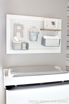 57 Ideas baby diy nursery girl changing station for 2019 Diaper Organization, Baby Nursery Organization, Nursery Storage, Pegboard Organization, Changing Table Organization, Organization Ideas, Organizing, Baby Nursery Diy, Baby Room Diy
