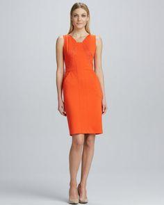 David Meister Lace-Paneled Sheath Dress - Neiman Marcus