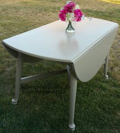 This table was in dire straits and needed some serious tlc.  After doing the repairs, it was reloved in General Finishes Acrylic Milk Paint in Millstone.  Many more years of dining pleasure are in this vintage tables future. #generalfinishes #vintage #diningtable #millstone