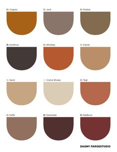 My Monday Morning Inspiration - It is the Danish Dagny Fargestudio to offer us brown, in a wide range of shades, as a color for 201 - Earthy Color Palette, Colour Pallette, Colour Schemes, Color Patterns, Neutral Tones, Color Combinations, Interior Color Schemes, Palettes Color, Rustic Color Palettes