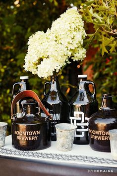 Boomtown Brewery being poured at Meritt Elliott and John Rankin's backyard dinner party